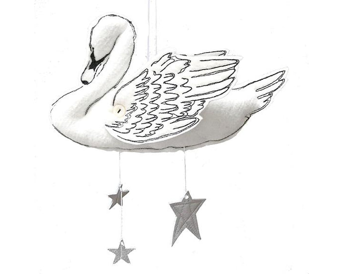 Swan Mobile in White and Luxe Metallic Leather (WH) - Baby Jives Co