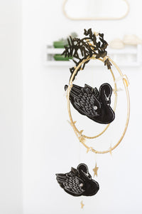 Swan Lake Mobile in Black  and Luxe Metallic Leather (WH) - Baby Jives Co