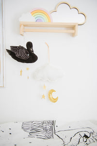 Swan Mobile in Black and Luxe Metallic Leather (WH) - Baby Jives Co