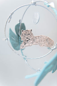 Tiger in the Jungle Luxe Mobile in Peach and Silver (WH) - Baby Jives Co
