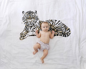 Organic Cotton Swaddle Blanket - Tiger (WH) - Baby Jives Co