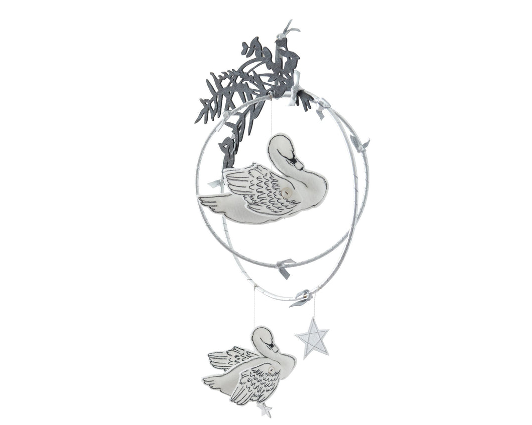 Swan Lake Mobile in White and Luxe Metallic Leather - (WH) - Baby Jives Co