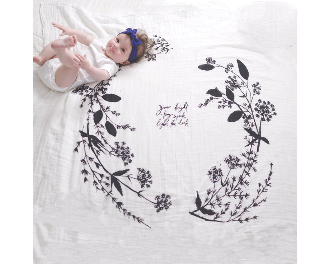 Organic Cotton Swaddle - Garland (WH) - Baby Jives Co