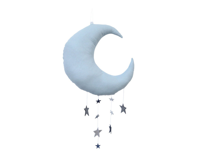Luxe Cascading Moon Mobile in Sky + Sapphire Blue WH - Baby Jives Co