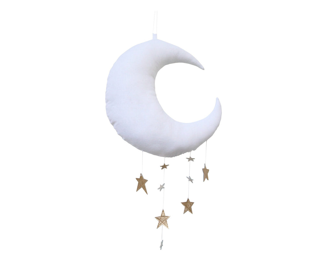 Luxe Cascading Moon Mobile in White + Gold WH - Baby Jives Co