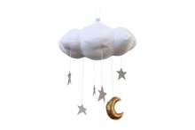 Load image into Gallery viewer, Standard Star Cloud Mobile in White and Silver WH - Baby Jives Co