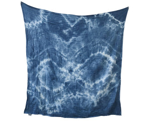 Organic Cotton Swaddle - Indigo Geode Naturally Dyed WH - Baby Jives Co