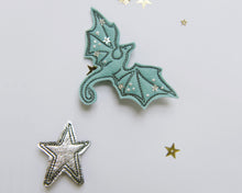 Load image into Gallery viewer, Aqua + Silver Dragon Clips - Baby Jives Co