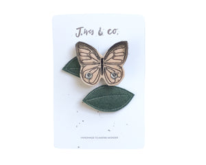 Blush Butterfly + Leaf Clips