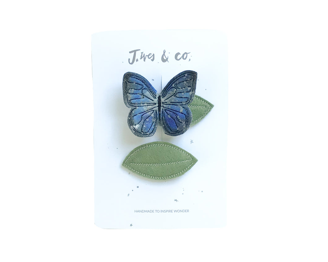Indigo Butterfly + Leaf Clips