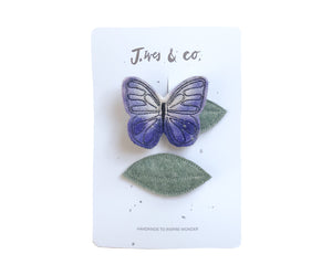 Lilac Butterfly + Leaf Clips