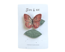 Load image into Gallery viewer, Peach Butterfly + Leaf Clips
