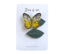 Load image into Gallery viewer, Clouded Yellow Butterfly + Leaf Clips