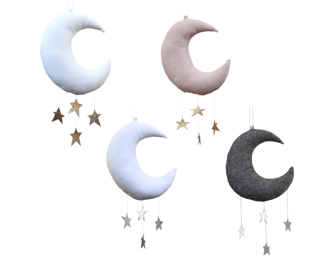 Standard Moon Mobile - 4 Color Options WH - Baby Jives Co