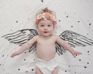 Organic Cotton Swaddle - Angel Wings (WH) - Baby Jives Co