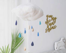 Load image into Gallery viewer, Luxe Color Fade Cloud Mobile in Indigo and Gold WH - Baby Jives Co