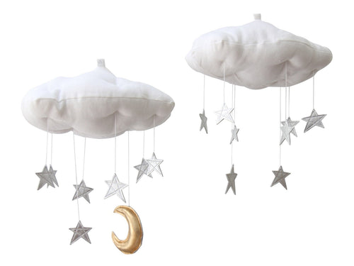 Luxe Silver Star Cloud Mobile WH - Baby Jives Co