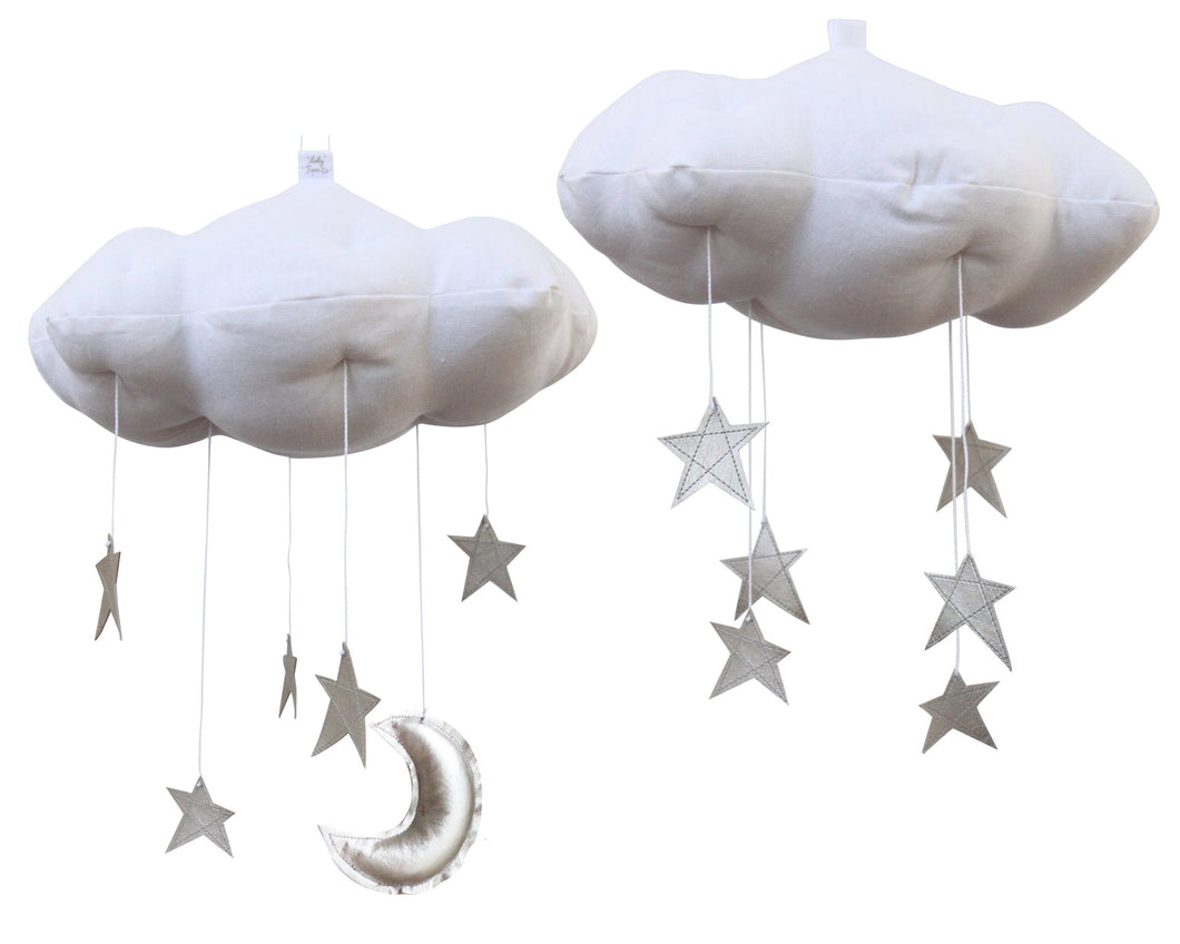 Standard Star Cloud Mobile in White and Silver WH - Baby Jives Co