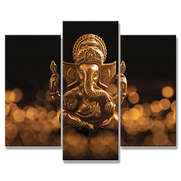 3 Piece Black and Gold Ganesha Frame