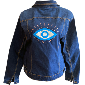 Evil Eye on Distressed Denim Jacket - Dandelion Lifestyle