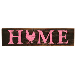 Rustic Wooden Sign, Home, Black & Pink