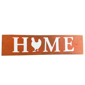 Home Chicken Sign Orange and White