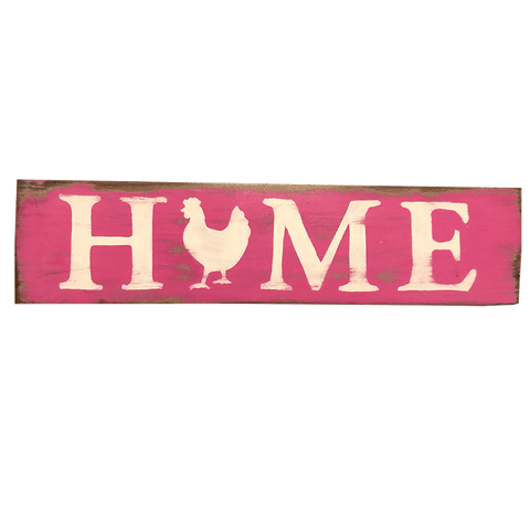 Rustic Wooden Sign, Home, Pink & White