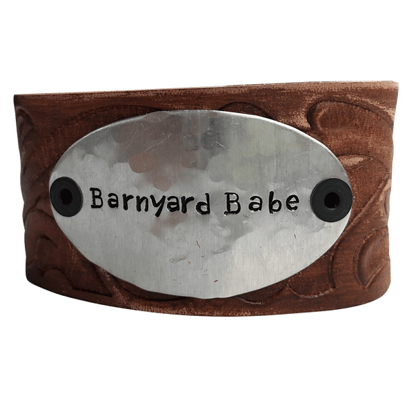 Hand Stamped Leather Cuff Bracelet, Barnyard Babe
