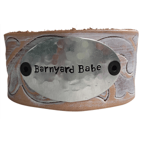 Hand Stamped Barnyard Babe Leather Cuff Bracelet