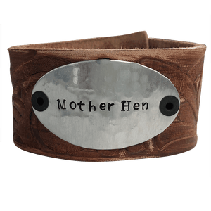 Hand Stamped Mother Hen Leather Cuff Bracelet