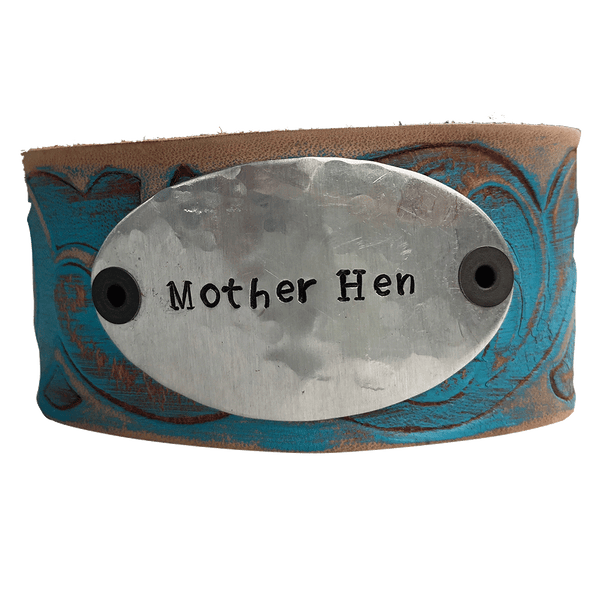 Hand Stamped Leather Cuff Bracelet, Mother Hen