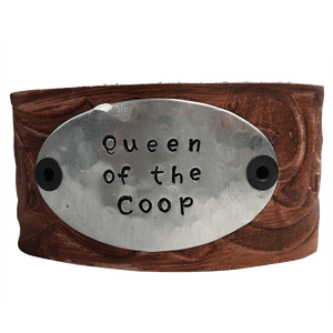Hand Stamped Leather Cuff Bracelet, Queen of the Coop