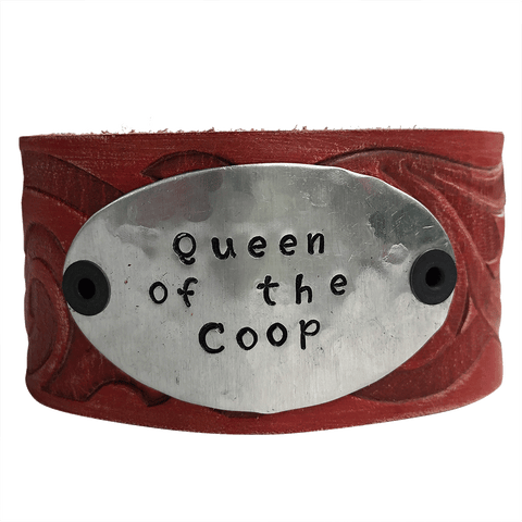 Hand Stamped Queen of the Coop Leather Cuff Bracelet