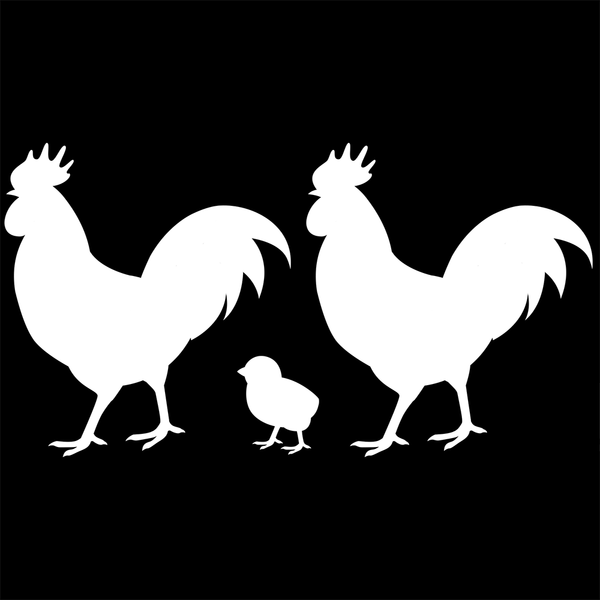 Vehicle Decal, Roosters & Chicks Family