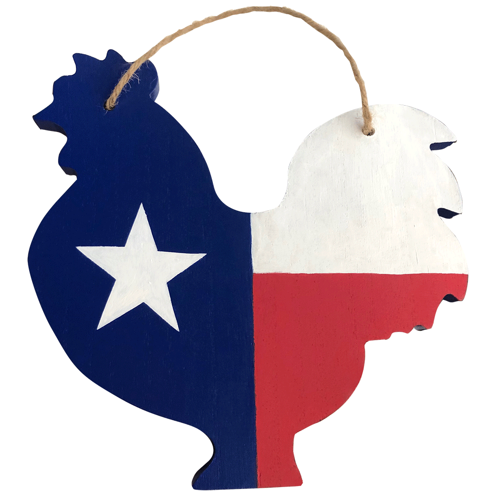 Texas Chicken Cut Out Wooden Sign