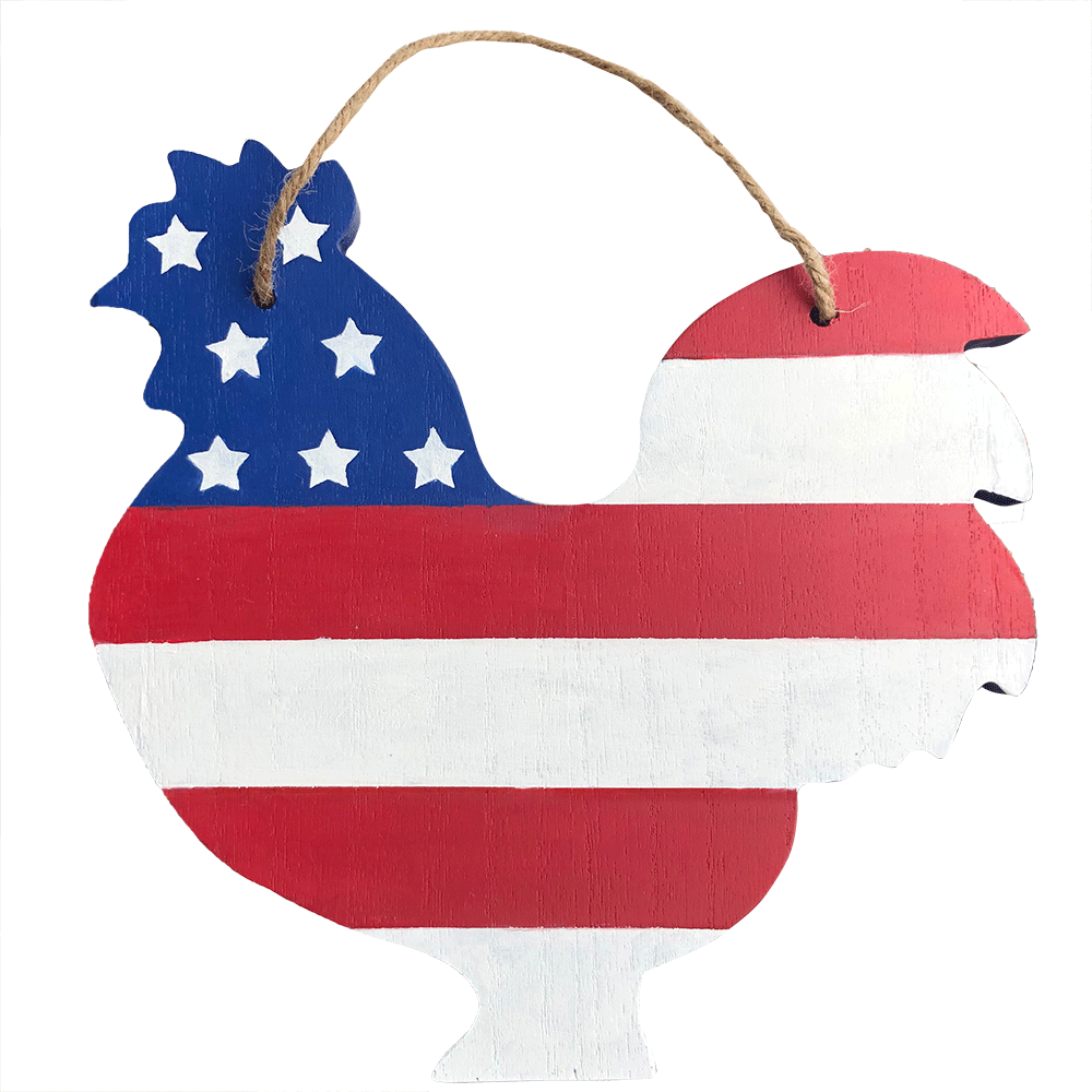 USA Chicken Cut Out Wooden Sign