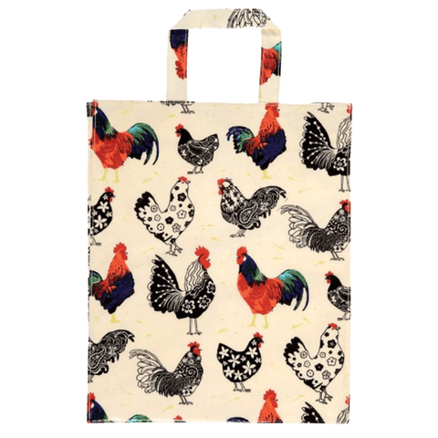 Rooster Coated Cotton Tote Bag