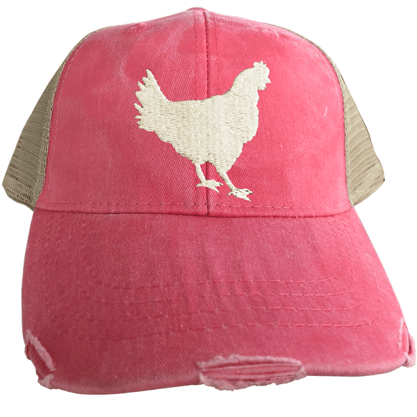 Distressed Trucker Cap, Hen