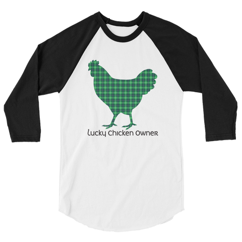 T-Shirt, 3/4 Sleeve Raglan, Tartan Plaid Chicken