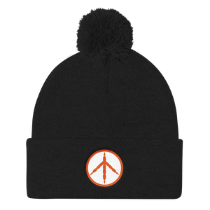 Orange Chicken Peace Pom Pom Knit Cap