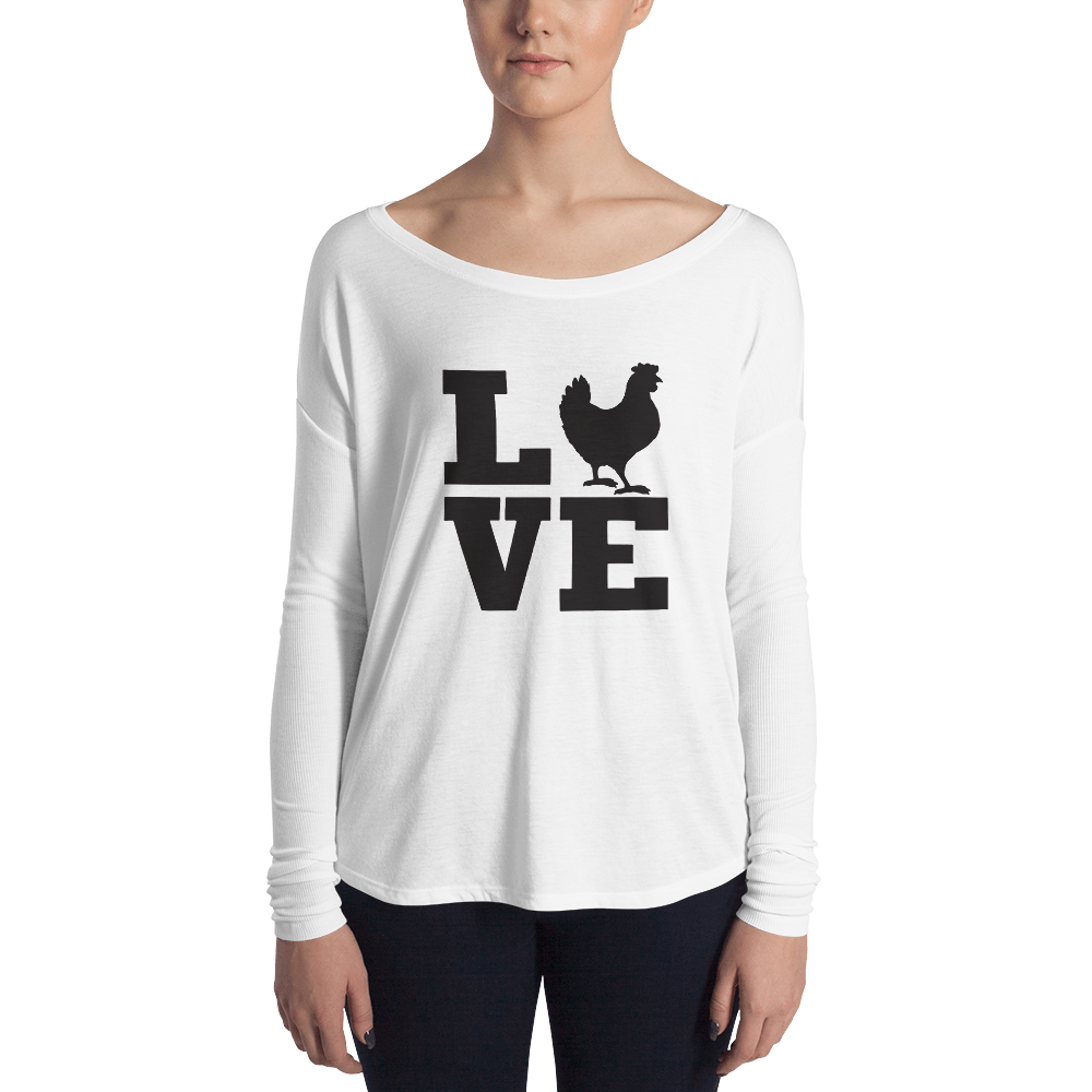 T-Shirt, Long-Sleeve Ladies, Love Chicken