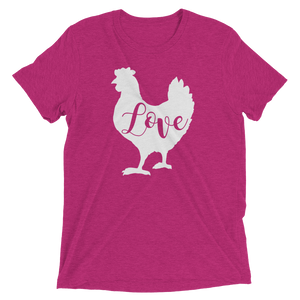 T-Shirt, Tri-Blend Unisex Short Sleeve, Chicken Love