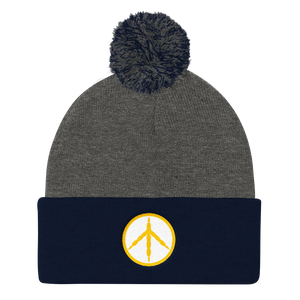 Yellow Chicken Peace Pom Pom Knit Cap
