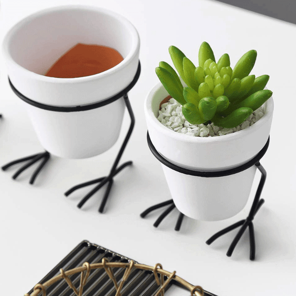 Planter With Chicken Feet Metal Stand Holder