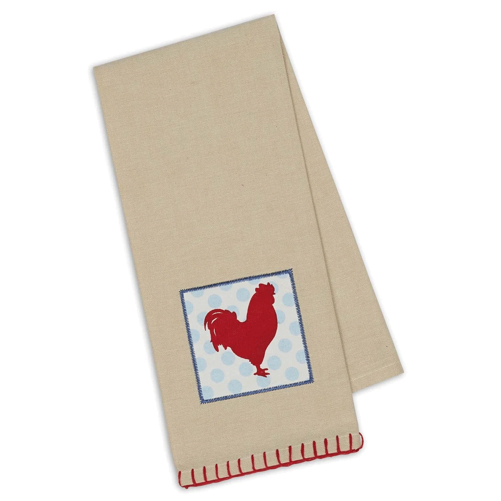 Red Rooster Embellished Dish Towel