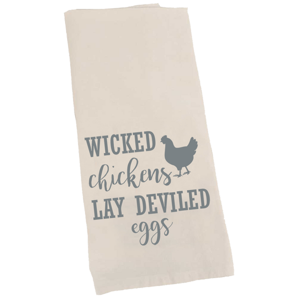 Kitchen Towel, Wicked Chickens Lay Deviled Eggs