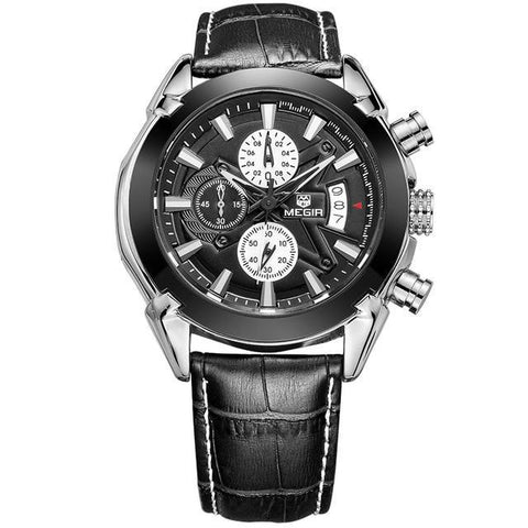 Military Style Watch With Leather Band - Black - Mechanical Watches
