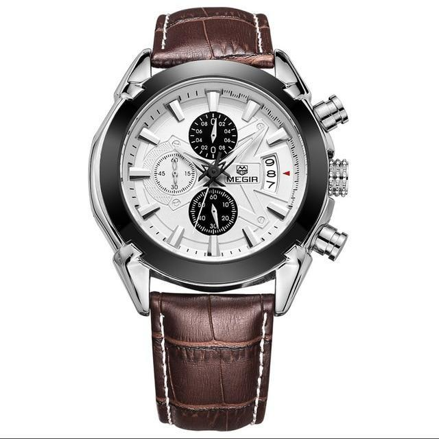 Military Style Watch With Leather Band - White - Mechanical Watches