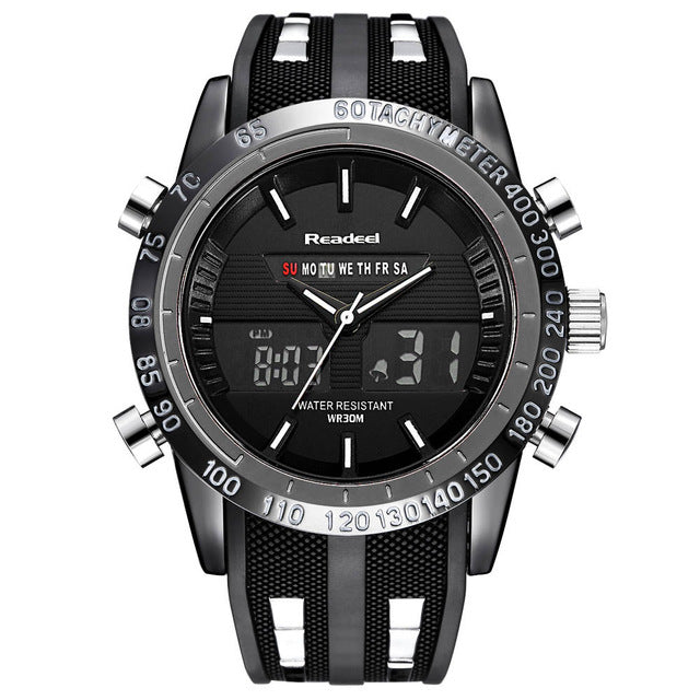 Dual Display Stainless Steel Sports Watch - Black - Mechanical Watches