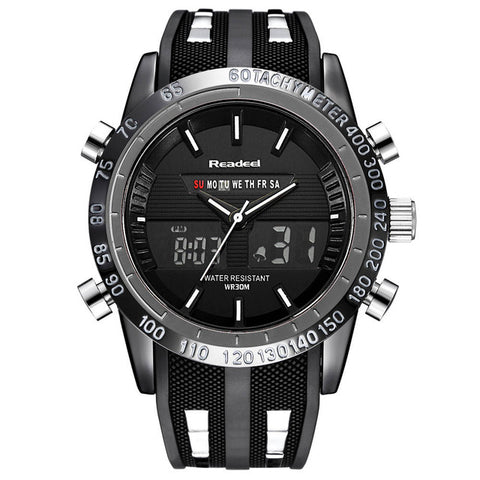 Dual Face Military Style Watch - Black